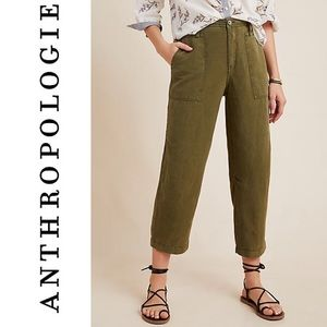 Anthropologie Audra Utility Cropped Linen Lyocell Ankle  Boho Pants Plus Size 32